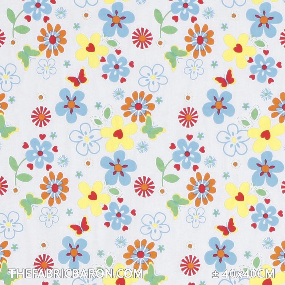 Children039s Fabric Flower Butterfly White The Fabric Baron